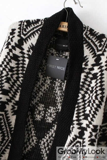 Apparel :: Cardigan :: Black Yellow White Tribal Enthic Pattern ...
