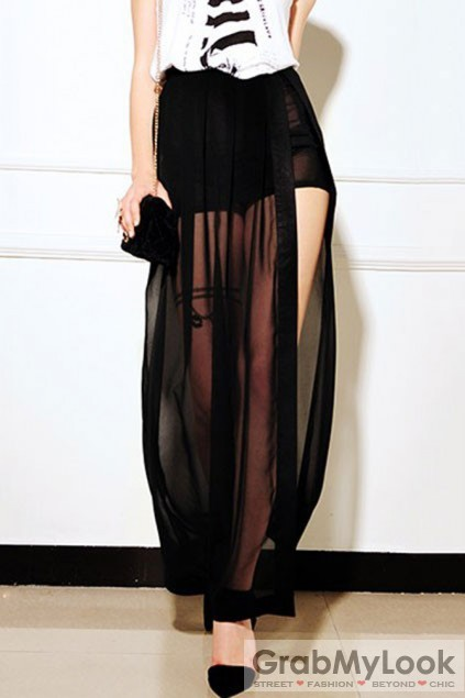 Apparel :: Skirt :: High Waist Mesh Sheer Pleated Mini Long Dress ...