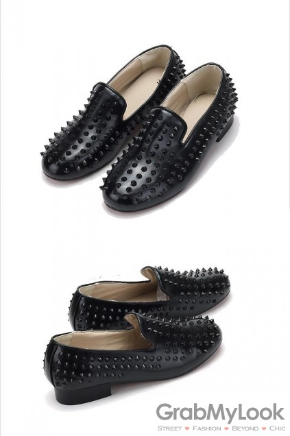 MEN's Corner :: Shoes :: Loafers :: Black Leopard Spikes Oxfords ...