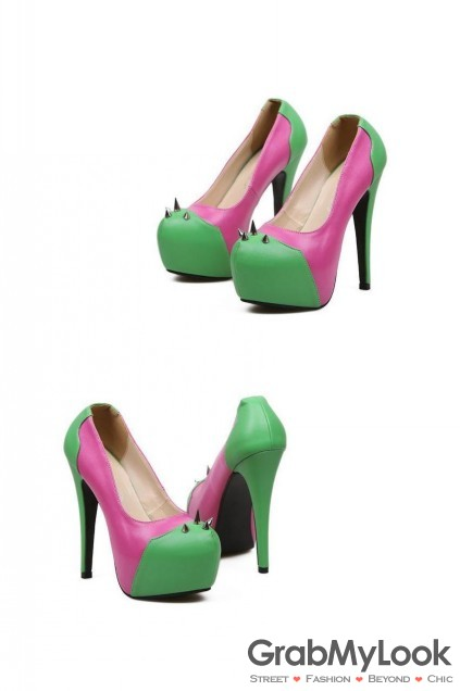 Shoes :: Heels :: Pink Green Spike Platforms Stiletto High Heels Shoes