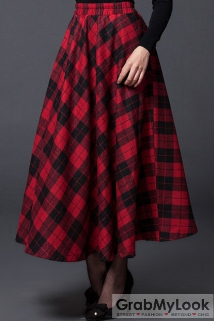 Apparel :: Skirt :: Country Vintage Plaid Wool-blend Skater Long Skirt