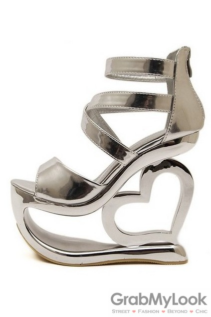 Silver Platforms Straps Wedges Weird High Heart Heels Shoes Sandals