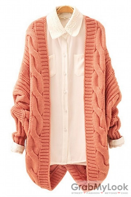 Apparel :: Cardigan :: Twisted Knit Pattern Batwing Long Sleeves ...