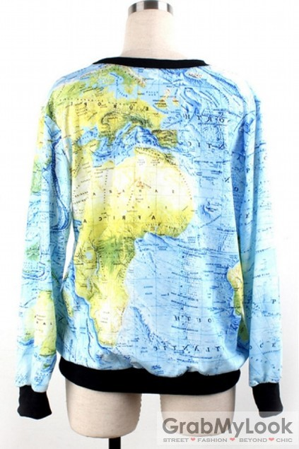 Apparel sweatshirts world map long sleeves sweatshirt sweater world map long sleeves sweatshirt sweater gumiabroncs Gallery