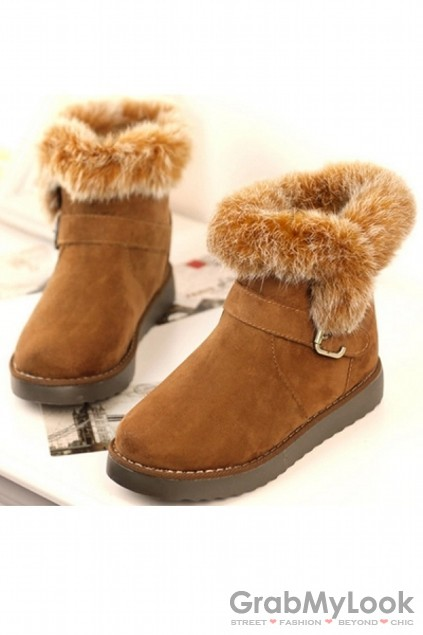Shoes :: Boots :: Suede Rabbit Fur Lining Ankle Flats Boots