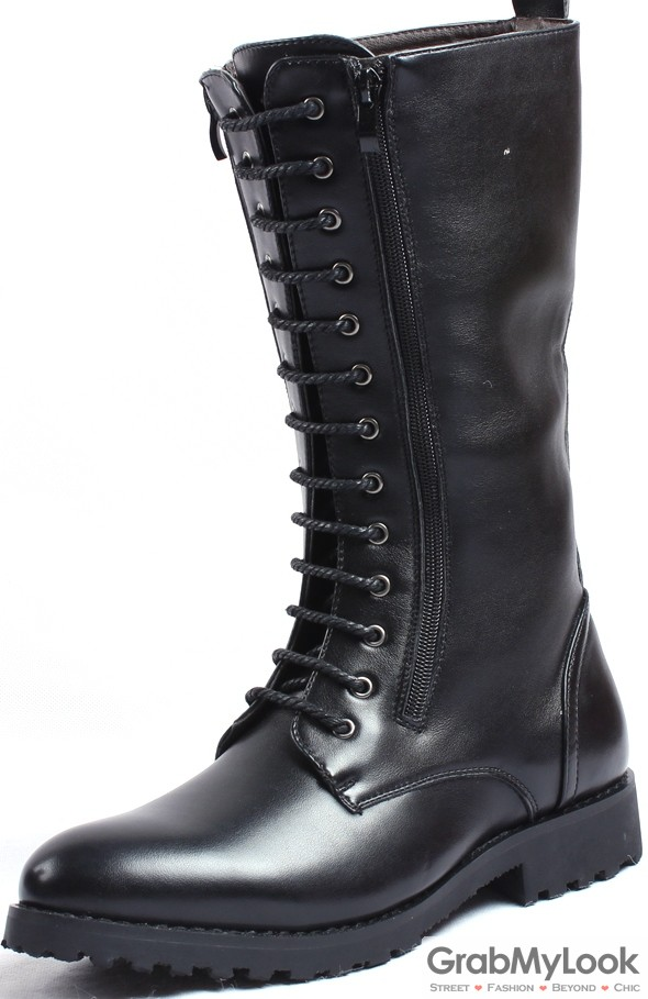 Mens Black Leather Punk Rock High Top Lace Up Zipper Knee Thick Sole  Military Style Mens Boots Shoes