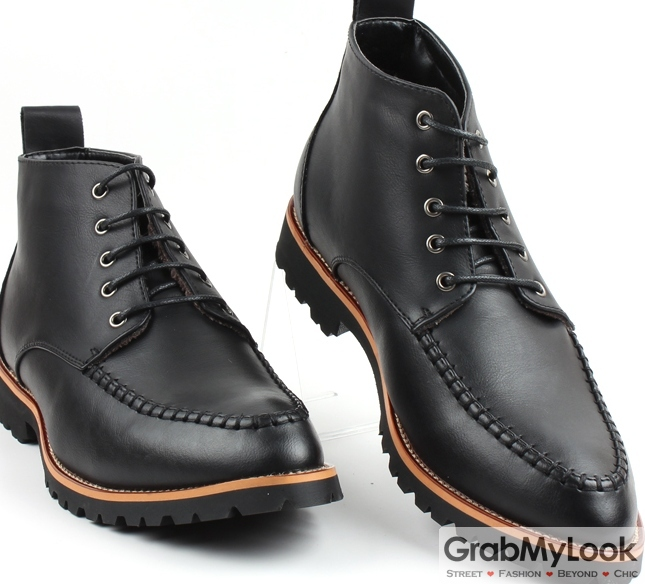 Black Leather Punk Rock Lace Up Thick Sole Military Style Mens Boots Shoes