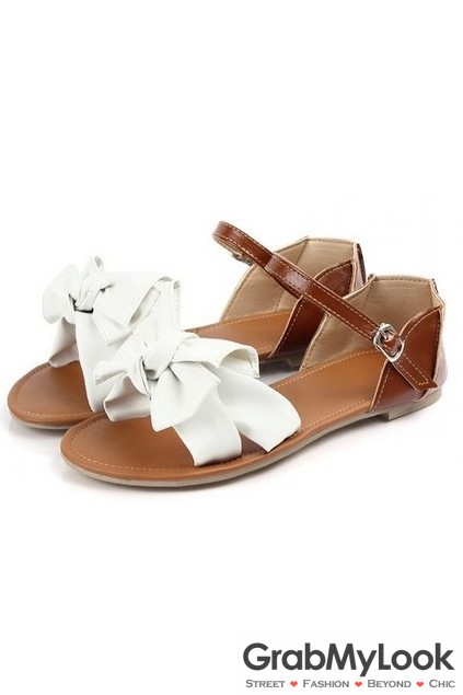 fbe1df7f3 Faux Leather Big Bow Flats Gladiator Sandals Women Summer Beach Shoes Flip  Flop