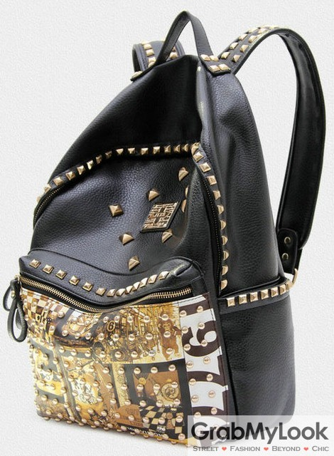 Leather Gold Metal Studs Punk Rock Gothic Funky Backpack