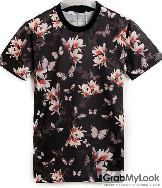 Black white flowers floral round neck mens short sleeves t for Floral mens t shirts
