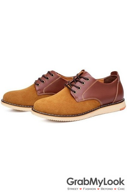 light brown suede leather lace up mens oxfords sneakers shoes