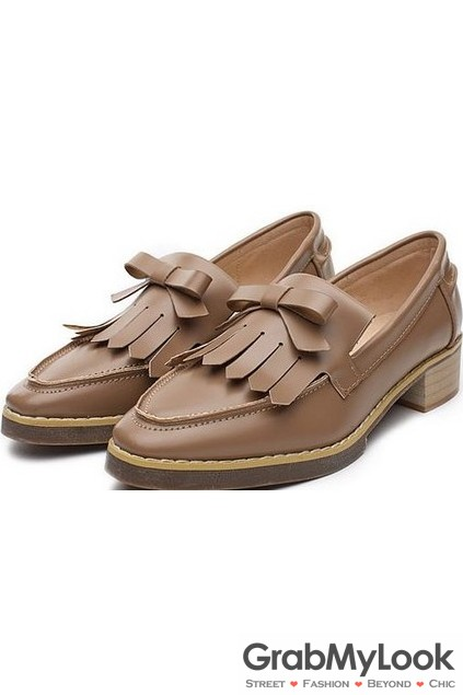 Fringes Bow Point Head Black Brown Leather Oxfords Loafers Flats