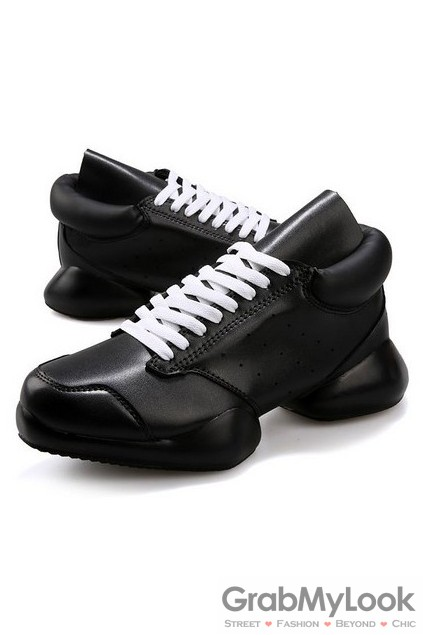 Lace Up High Top Mens Black White Chunky Sole Sneakers Running Walking Shoes 89efc00d794c