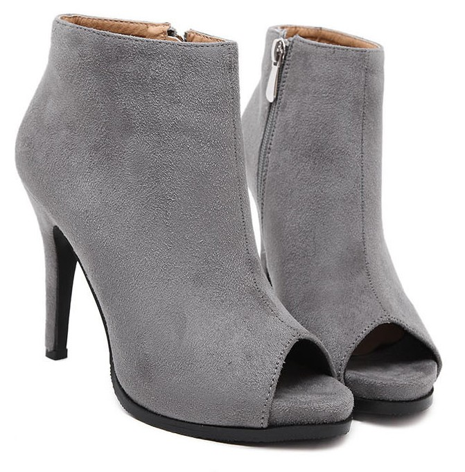 Grey Ankle Boots With Heel