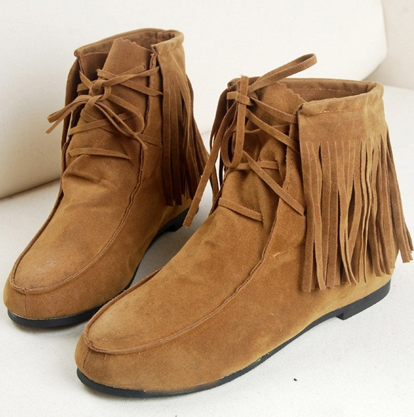 brown fringe ankle boots