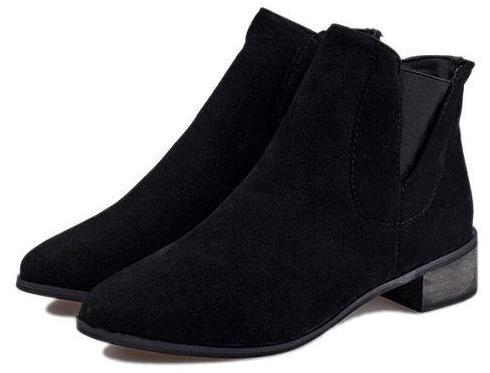 black point suede chelsea ankle flat boots