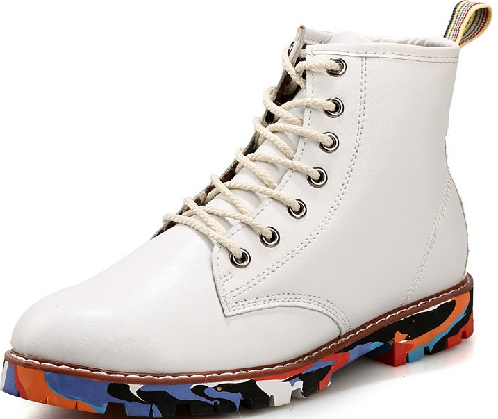 white leather mens lace up rock colorful sole