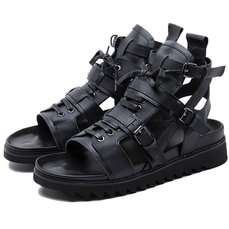 black leather boots mens gladiator sandals