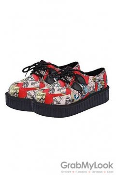 Red Colorful Comic Harajuku Lace Up Platforms Creepers Oxfords Shoes