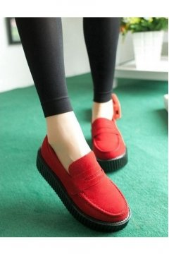 Red Suede Loafter Platforms Creepers Oxfords Shoes