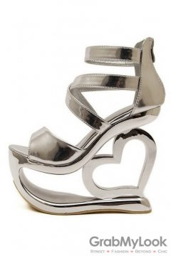 Shiny Silver Platforms Straps Wedges Weird High Heart Heels Shoes Sandals