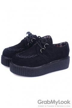 Suede Embroidery Lace Up Black Platforms Creepers Oxfords Shoes