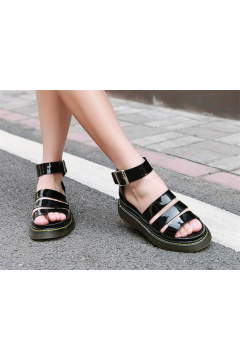 Patent Leather Ankle Straps Black Platform Yellow Stitch Punk Rock Gladiator Sandals Shoes