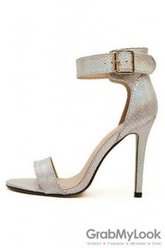Snake Skin Silver Stiletto High Heels Pump Women Sandals Shoes