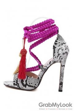 Snake Skin Pink Tassels Bohemian Exotic Gladiator Roman Stiletto High Heels Shoes