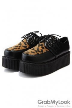 Faux Suede Leopard Old School Platforms Punk Rock Lace-Up Oxfords Flats Creepers Shoes