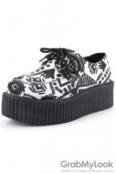 White Black Tribal Lace Up Platforms Creepers Oxfords Shoes