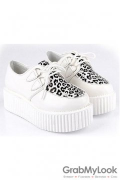 White Leopard Lace Up Platforms Creepers Oxfords Shoes