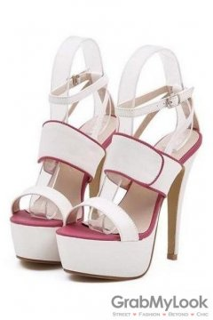 Leather Straps White Open Toe Platforms High Heels Stiletto Sandals Shoes