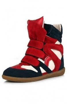 Red Blue Faux Leather High Top Hidden Wedges Ankle Boots Sneakers