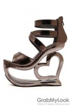 Shiny Bronze Platforms Straps Wedges Weird High Heart Heels Shoes Sandals