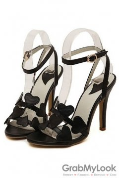 Heart Thin Straps Black Sexy High Heels Stiletto Shoes Sandals