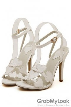 Heart Thin Straps White Sexy High Heels Stiletto Shoes Sandals
