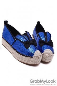 Glittering Rabbit Ear Black Bow Blue Loafers Sneakers Platforms Flats Shoes