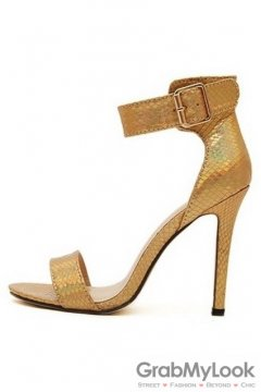 Snake Skin Gold Stiletto High Heels Pump Women Sandals Shoes