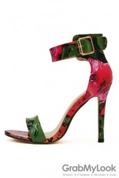 Colorful Bohemia Painting Stiletto High Heels Pump Women Sandals Shoes