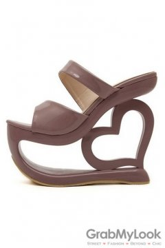 Shiny Glossy Brown Platforms Wedges Weird High Heart Heels Shoes Sandals