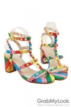 Metal Square Studs Rainbow Thin Straps Heels Sandals Shoes