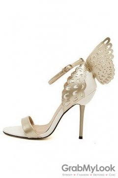 White Gold Patent Leather Butterfly Stiletto High Heels Pump Women Sandals Shoes