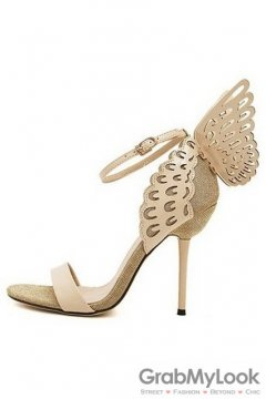 Patent Leather Butterfly Beige Gold Stiletto High Heels Pump Women Sandals Shoes