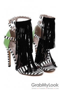 Black White Green Stripes Tassels Bohemian Exotic Gladiator Roman Stiletto High Heels Shoes