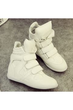 White High Top Hidden Wedges Sneakers