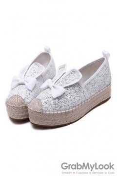 Glittering Rabbit Ear Bow White Silver Loafers Sneakers Platforms Flats Shoes