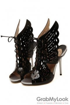 Patent Angel Butterfly Wings Black Lace Up High Heels Stiletto Ankle Boots Shoes