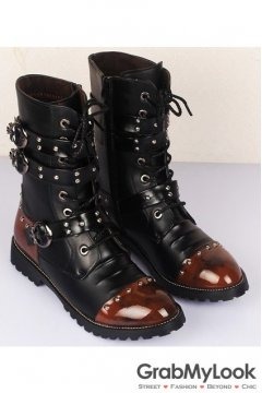 Black Lace Up Multiple Straps Punk Rock Thick Sole Military Style Men Boots Shoes