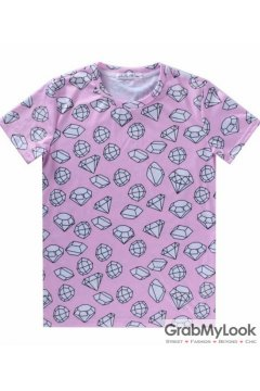 Pink White Cartoon Comic Diamonds Men Short Sleeves T Shirt